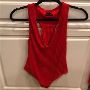 Red, ribbed bodysuit